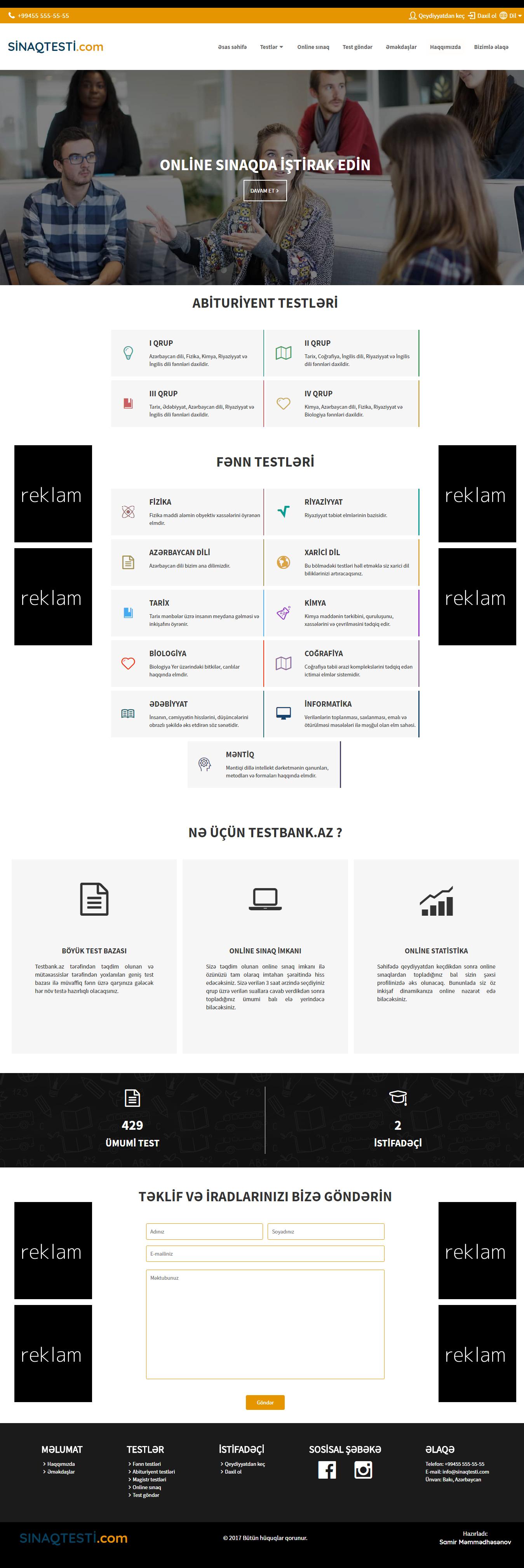 Online test portalı - sinaqtesti.com